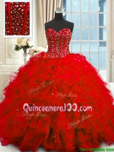 Sweet Red Lace Up Quince Ball Gowns Beading and Ruffles and Sequins Sleeveless Floor Length