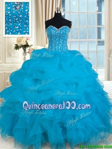 Great Sleeveless Lace Up Floor Length Beading and Ruffles Sweet 16 Dresses