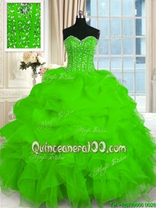 Popular Spring Green Lace Up Sweetheart Beading and Ruffles Quince Ball Gowns Organza Sleeveless
