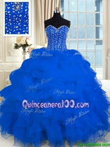 Charming Royal Blue Sweetheart Lace Up Beading and Ruffles Sweet 16 Quinceanera Dress Sleeveless