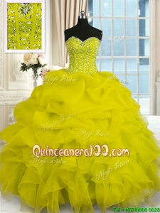 Latest Spring and Summer and Fall and Winter Organza Sleeveless Floor Length Quinceanera Dress andBeading and Ruffles