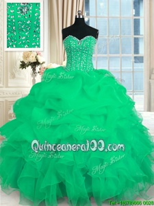 Turquoise Ball Gowns Beading and Ruffles 15 Quinceanera Dress Lace Up Organza Sleeveless Floor Length