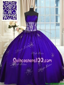 Hot Sale Purple Sleeveless Floor Length Beading and Appliques and Ruching Lace Up Sweet 16 Quinceanera Dress
