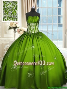 Gorgeous Floor Length Spring Green Sweet 16 Dresses Taffeta Sleeveless Spring and Summer and Fall and Winter Beading and Appliques and Ruching