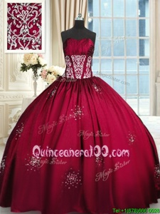 Colorful Wine Red Taffeta Lace Up Sweet 16 Quinceanera Dress Sleeveless Floor Length Beading and Appliques and Ruching