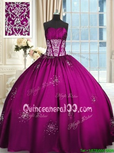 Deluxe Sleeveless Taffeta Floor Length Lace Up 15th Birthday Dress inFuchsia forSpring and Summer and Fall and Winter withBeading and Appliques and Ruching