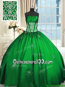 Custom Design Spring Green Sleeveless Beading and Appliques and Ruching Floor Length Sweet 16 Dresses