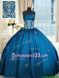Super Blue and Teal Taffeta Lace Up Strapless Sleeveless Floor Length Ball Gown Prom Dress Beading and Appliques and Ruching