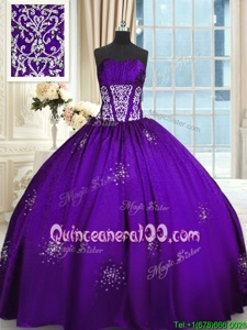 Stunning Purple Ball Gowns Sweetheart Sleeveless Taffeta Floor Length Lace Up Beading and Appliques and Ruching Quinceanera Gowns