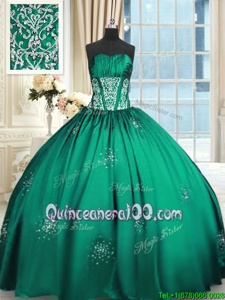 Clearance Spring and Summer and Fall and Winter Taffeta Sleeveless Floor Length Ball Gown Prom Dress andBeading and Appliques and Ruching