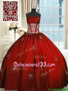 Flirting Strapless Sleeveless Quince Ball Gowns Floor Length Beading and Appliques and Ruching Wine Red Taffeta