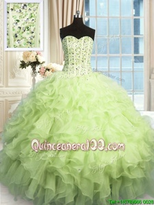 Artistic Floor Length Yellow Green Quince Ball Gowns Organza Sleeveless Spring and Summer and Fall and Winter Beading and Ruffles and Sequins