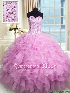 Chic Lilac Ball Gowns Sweetheart Sleeveless Organza Floor Length Lace Up Beading and Ruffles and Sequins Vestidos de Quinceanera