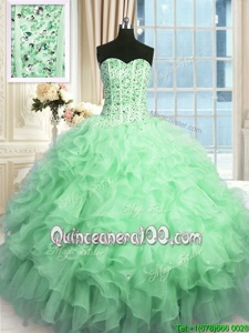 Spectacular Sleeveless Beading and Ruffles and Sequins Lace Up Quinceanera Gown