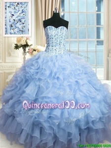 Vintage Lavender Lace Up Sweetheart Beading and Ruffles and Sequins Quinceanera Gown Organza Sleeveless