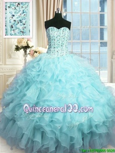 Affordable Sweetheart Sleeveless Organza Quinceanera Gown Beading and Ruffles and Sequins Lace Up