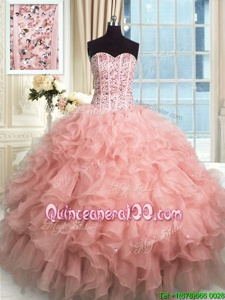 Glorious Rose Pink Organza Lace Up Quince Ball Gowns Sleeveless Floor Length Beading and Ruffles