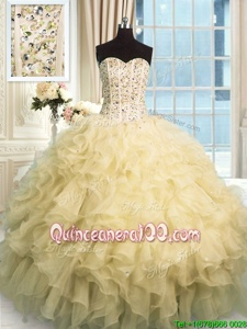 Top Selling Beading and Ruffles Quinceanera Gown Champagne Lace Up Sleeveless Floor Length