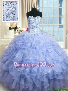 High End Floor Length Lace Up 15th Birthday Dress Lavender and In forMilitary Ball and Sweet 16 and Quinceanera withBeading and Ruffles