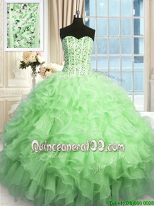 Clearance Apple Green Lace Up Vestidos de Quinceanera Beading and Ruffles Sleeveless Floor Length