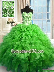 Cute Spring Green Ball Gowns Beading and Ruffles 15th Birthday Dress Lace Up Organza Sleeveless Floor Length