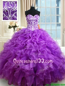 Fantastic Purple Organza Lace Up Sweetheart Sleeveless Floor Length Quinceanera Gowns Beading and Ruffles