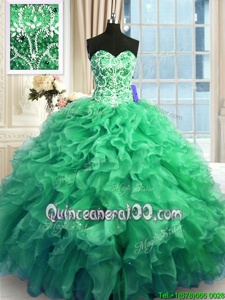 Stunning Ball Gowns Quinceanera Dresses Turquoise Sweetheart Organza Sleeveless Floor Length Lace Up