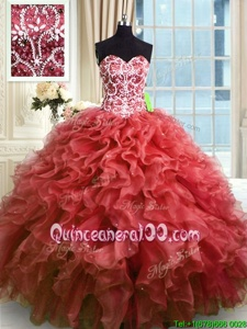 Wine Red Sweetheart Lace Up Beading and Ruffles Vestidos de Quinceanera Sleeveless