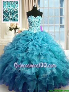 Lovely Sweetheart Sleeveless Lace Up Ball Gown Prom Dress Teal Organza