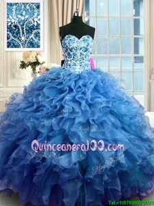 Perfect Blue Organza Lace Up Sweetheart Sleeveless Floor Length Quinceanera Dresses Beading and Ruffles