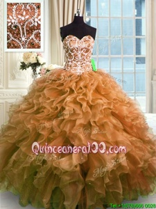 Most Popular Sleeveless Organza Floor Length Lace Up 15 Quinceanera Dress inBrown forSpring and Summer and Fall and Winter withBeading and Ruffles
