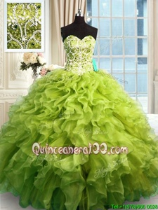 Edgy Floor Length Ball Gowns Sleeveless Olive Green Quinceanera Dresses Lace Up