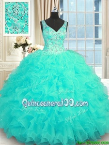 Exceptional Aqua Blue Zipper Sweet 16 Dress Beading and Ruffles Sleeveless Floor Length