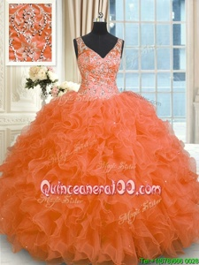 New Arrival Orange Sleeveless Organza Zipper Quinceanera Gown forMilitary Ball and Sweet 16 and Quinceanera