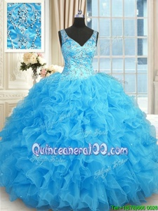 Amazing Sleeveless Floor Length Beading and Ruffles Zipper Quinceanera Dresses with Blue