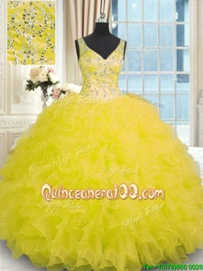 Latest Sleeveless Organza Floor Length Zipper Sweet 16 Dress inYellow forSpring and Summer and Fall and Winter withBeading and Ruffles