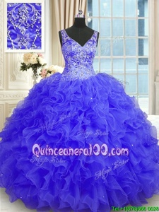 Eye-catching Floor Length Purple Quinceanera Dress Organza Sleeveless Spring and Summer and Fall and Winter Beading and Ruffles