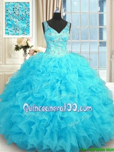 Latest Baby Blue Sleeveless Beading and Ruffles Floor Length 15 Quinceanera Dress