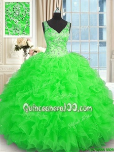 Ideal Green V-neck Neckline Beading and Ruffles Vestidos de Quinceanera Sleeveless Zipper