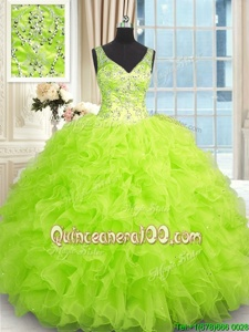 Stunning Floor Length Zipper Sweet 16 Dress Spring Green and In forMilitary Ball and Sweet 16 and Quinceanera withBeading and Ruffles