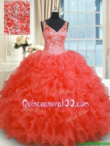 Adorable Organza V-neck Sleeveless Zipper Beading and Ruffles Quinceanera Dress inWatermelon Red