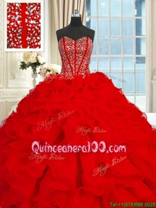 Custom Fit Sleeveless With Train Beading and Ruffles Lace Up Quinceanera Dresses with Red Brush Train