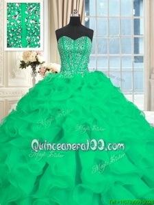 Super Turquoise Lace Up Sweetheart Beading and Ruffles Sweet 16 Dresses Organza Sleeveless Brush Train