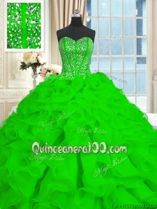 Spectacular Spring Green Organza Lace Up 15 Quinceanera Dress Sleeveless With Brush Train Beading and Ruffles