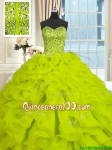Romantic Sleeveless Brush Train Beading and Ruffles Lace Up Vestidos de Quinceanera