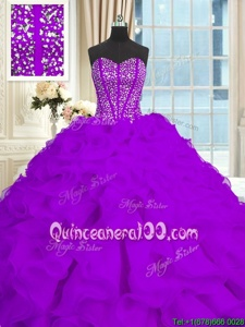 Attractive Sleeveless Brush Train Beading and Ruffles Lace Up Sweet 16 Dress