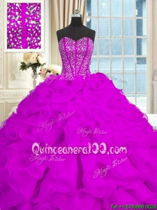 Delicate Purple Lace Up 15th Birthday Dress Beading and Ruffles Sleeveless With Brush Train