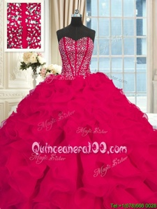 Sweetheart Sleeveless Brush Train Lace Up Quinceanera Gown Fuchsia Organza