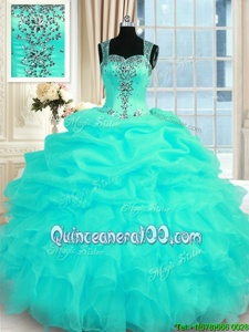 Vintage Turquoise Organza Zipper Straps Sleeveless Floor Length Quince Ball Gowns Beading and Ruffles