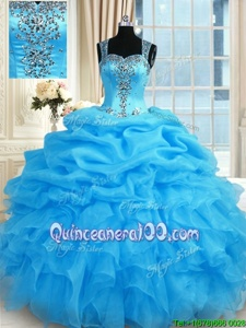 Clearance Floor Length Ball Gowns Sleeveless Baby Blue Quinceanera Gowns Zipper